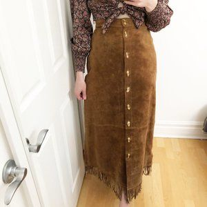 Vintage Fringed Tan Suede Maxi Skirt Boho Western